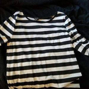 Black and off white/cream color top